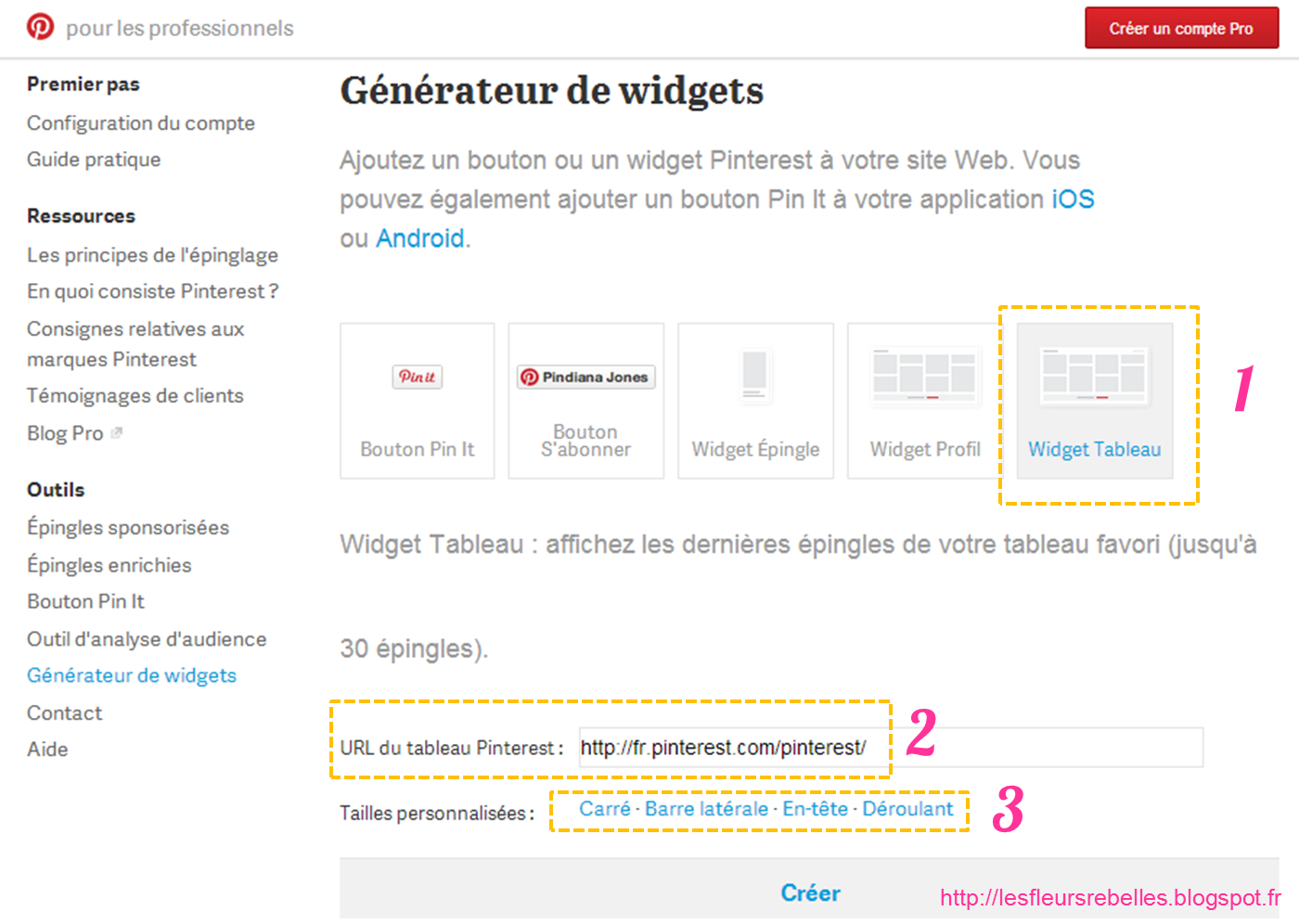 Tutoriel widget Pinterest blog