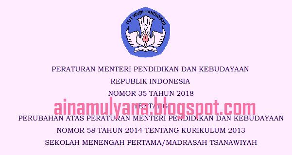 Pertimbangan diterbitkan Permendikbud Nomor  PERMENDIKBUD NOMOR 35 TAHUN 2018 TENTANG STRUKTUR KURIKULUM 2013 Sekolah Menengah Pertama - MTS