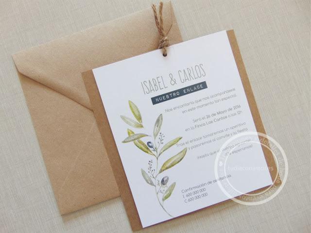 Invitaciones de boda de estilo rústico y provenzal con kraft, cordón y motivos vegetales de rama de olivo