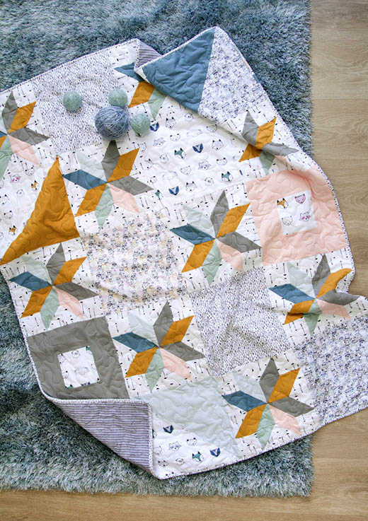 Cuddles & Cones Quilt Free Pattern designed by Live art gallery fabrics, featuring Pine Lullaby Collection