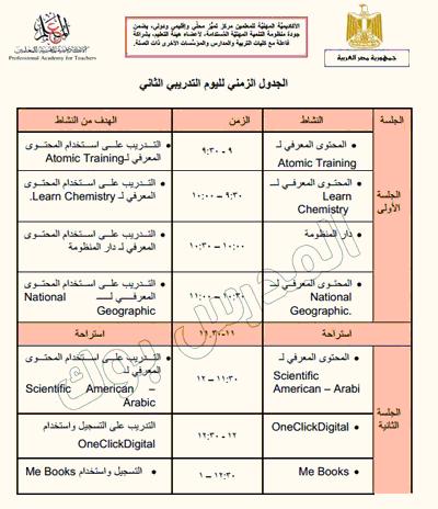 الجدول التدريبي لليوم الثاني للترقية 2017-2018