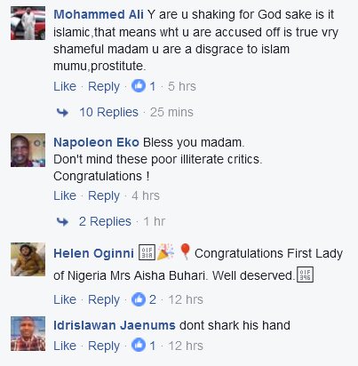 Muslim Internet Users Descends On Aisha Buhari For Shaking Hands With A Man In Belgium.
