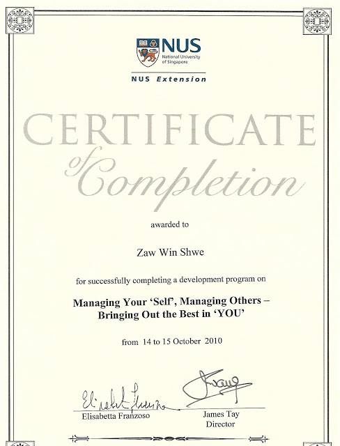 Certificate in Managing Your Self, Managing Others