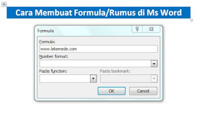 Cara Membuat Rumus atau formula Penjumlahan di Microsoft Word