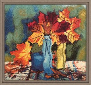 вышивка осенние листья