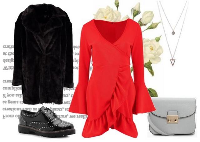Outfit inspiratie rood jurkje lange faux fur jas grijze crossbody tas en veterschoen