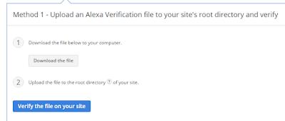 cara verifikasi website atau blog di alexa metode 1