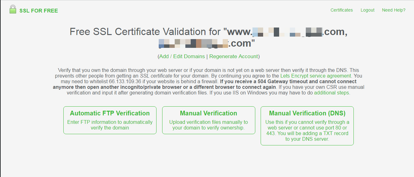 Sslforfree Get Free Ssl Certificates For Https Without Ssh