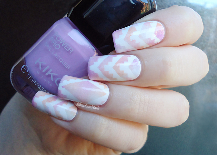 White pastel aztec gradient nail art