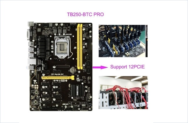 Biostar Motherboard TB250 BTC PRO Supports 6 AMD and 6 Nvidia Graphics cards