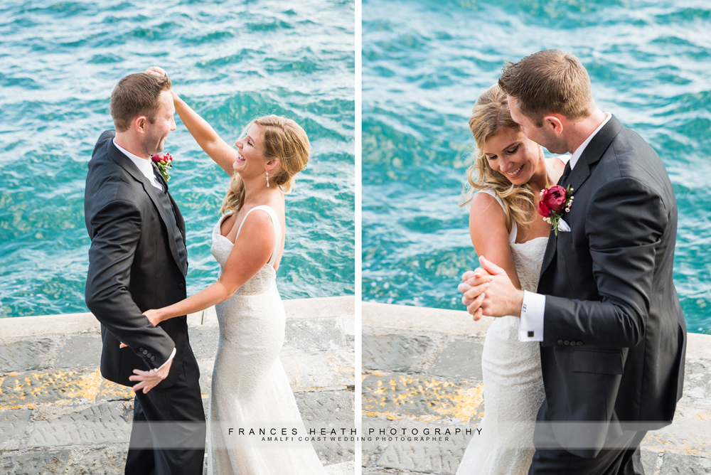 Fun wedding portraits on the beach