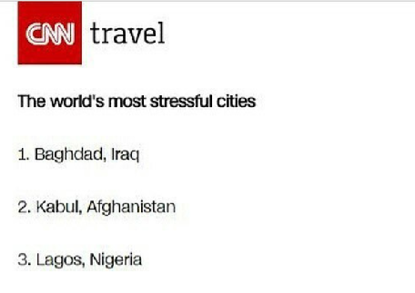 Lagos State Listed Among The World's Most Stressful Cities