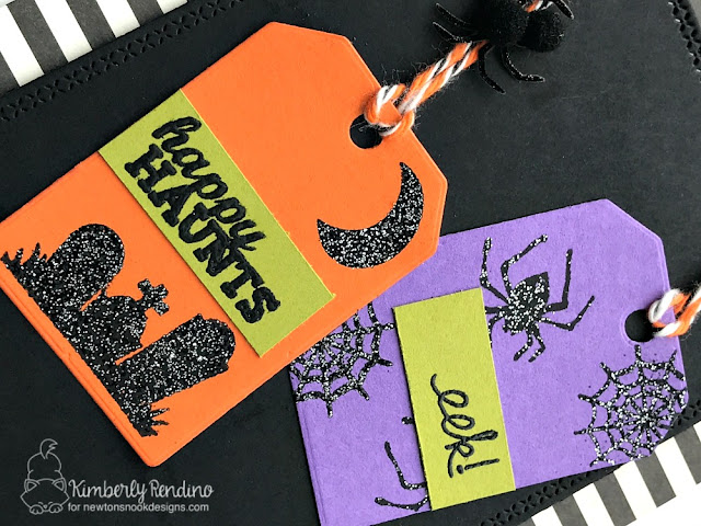 Halloween Card by Kimberly Rendino | Newton's Nook Designs | handmade card | tags | spider | graveyard | glitter embossing | stamping | clear stamps | papercraft