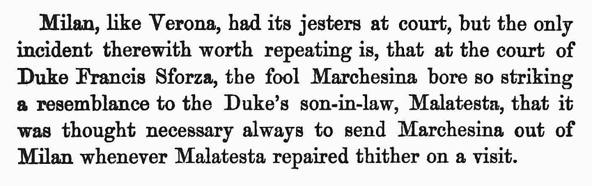An account of the jester Marchesina at the Milan court of Duke Sforza