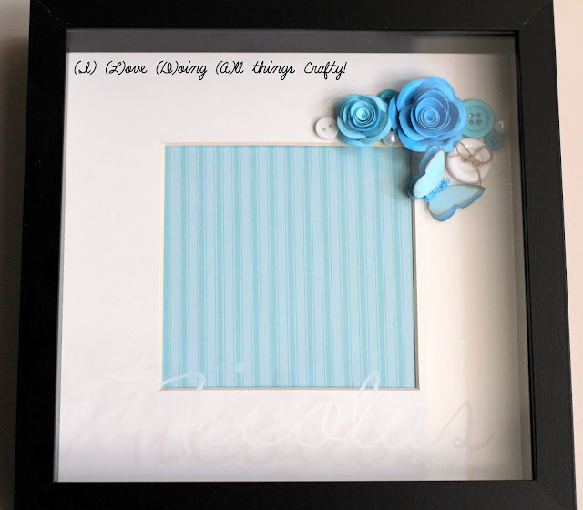 Etched Shadow Box Picture Frame for a Baby Boyby ilovedoingallthingscrafty.com