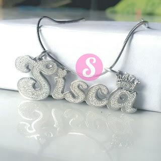 kalung nama monel silver grafir - sisca