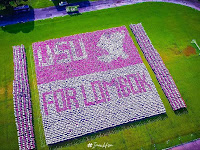 Menakjubkan! 8100 Mahasiswa USU Buat Formasi Mozaik Untuk Lombok