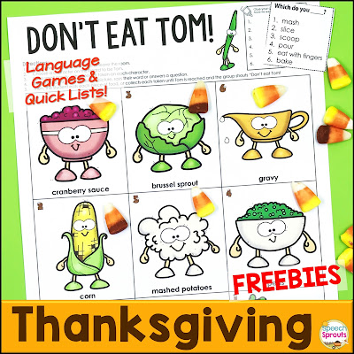 Thanksgiving Speech Therapy Games Freebie: Don't Eat Tom! www.speechsproutstherapy.com