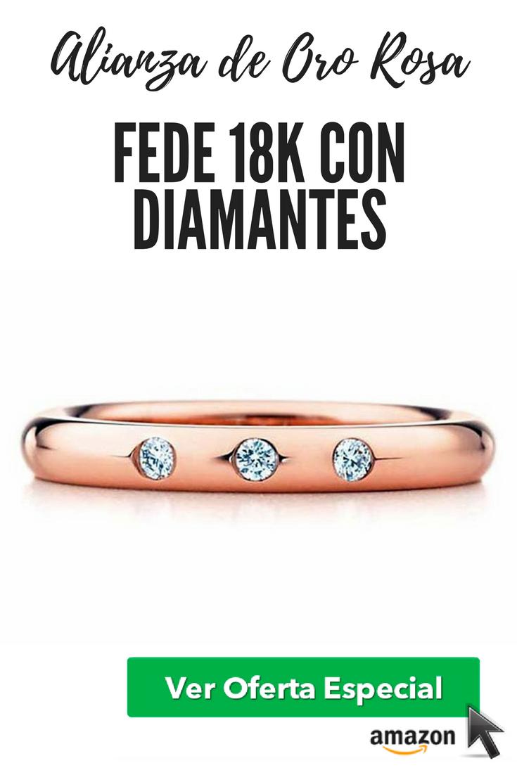 El regalo perfecto : Alianza de Oro Rosa Fede alianza 18K, con 3 diamantes
