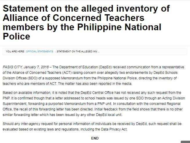 DepEd issued its statement regarding the profiling made to ACT members