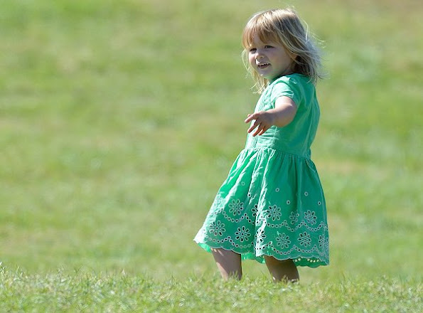Zara Tindall and Mia Tindall attend the second day of the Festival of British Eventing