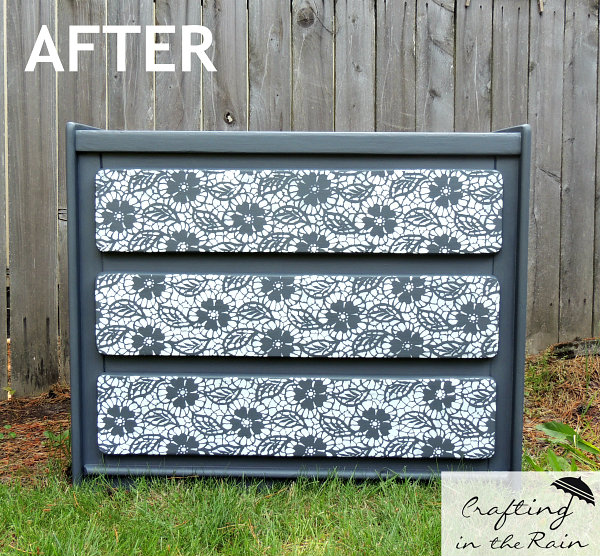 When Two Coats Were Dry I Set The Stencil Down On Front Of Drawer This Is Small Fleur De Lace From Royal Design Studio