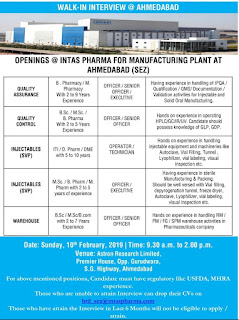 Intas Pharma Walk in Interview 2019