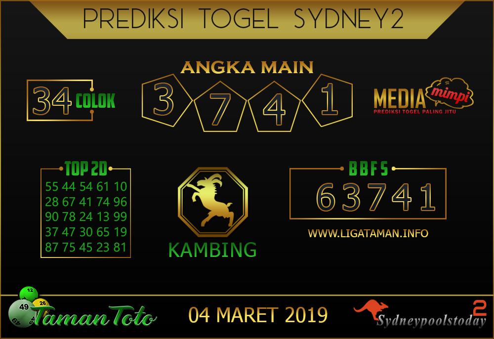 Prediksi Togel SYDNEY 2 TAMAN TOTO 04 MARET 2019