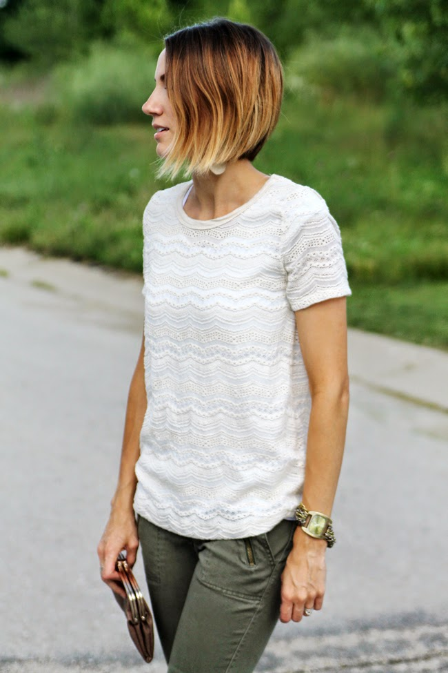 Lace tee, olive skinnies, short ombre bob