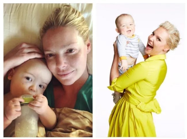 24 Pictures Of Famous Women With And Without Makeup - Katherine Heigl