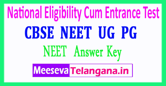 CBSE NEET National Eligibility Cum Entrance Test NEET Answer Key 2018