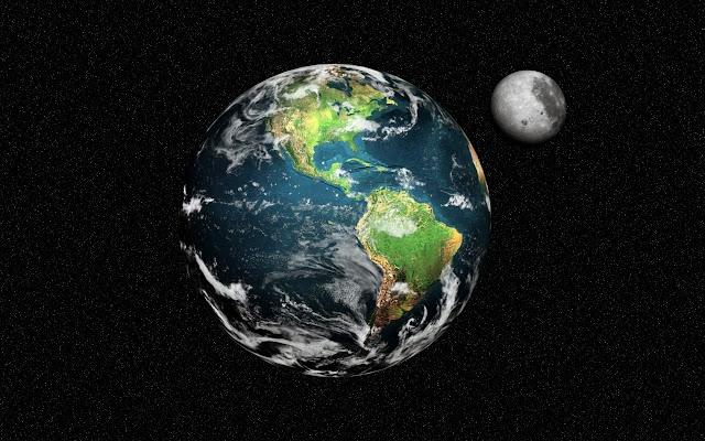Aarde en de maan in de zwarte ruimte met sterren