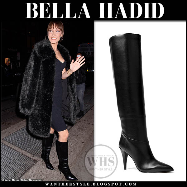 Bella Hadid in black leather michael kors rosalyn knee boots, black fur coat and black fitted dress party outfit style february 5