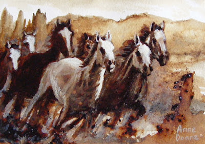 "coffee and gouache painting of wild horses, 5"" x 7"", prints available on Fine Art America, copyright Anne Doane 2018"