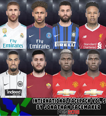 PES 2018 Facepack International v5 by Jonathan Facemaker