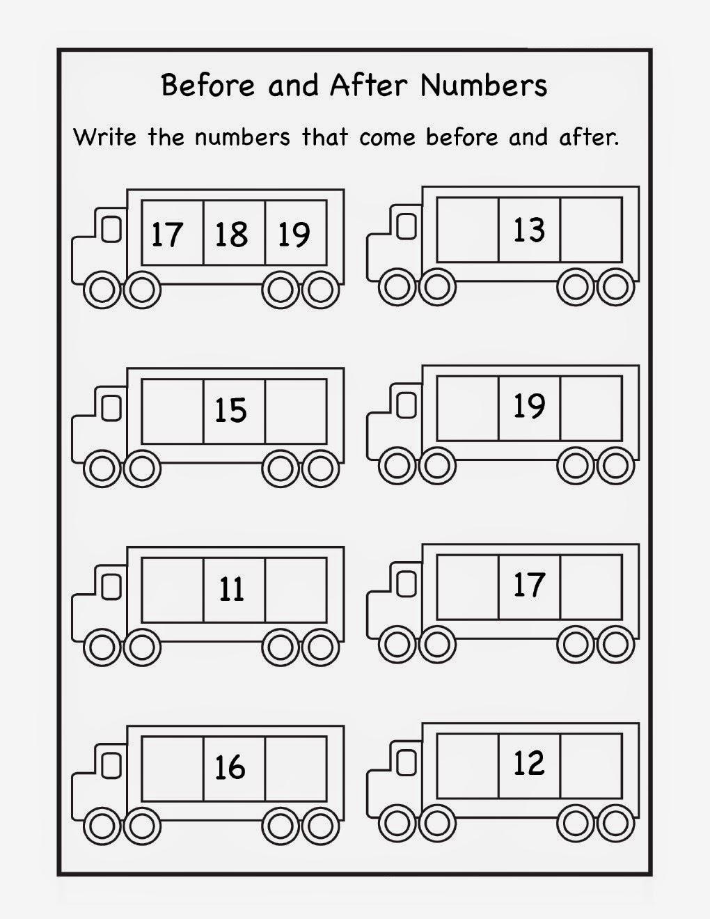 medium resolution of Kindergarten Worksheets: Printable Worksheets - Maths Worksheets - Before \u0026  After