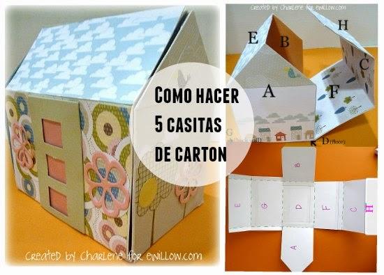 Casita de papel y carton plantilla en pdf - Como hacer una casa de carton pequena ...