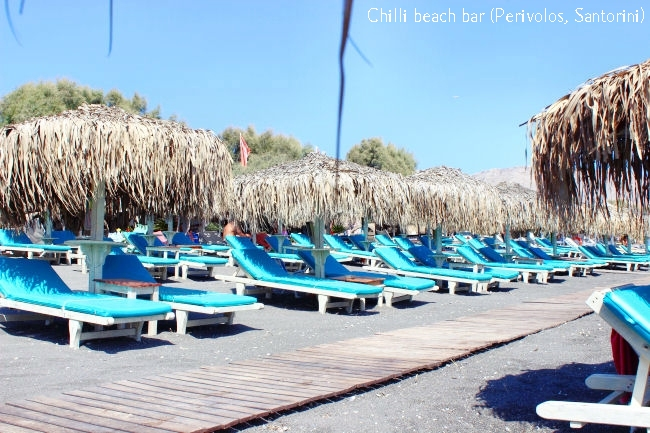 Chilli beach bar in Perivolos beach in Santorini