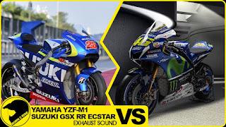 Suara Knalpot Racing Antara Yamaha YZR-M1 Vs Suzuki GSX-RR ..Gaharan Mana Hyao..?!