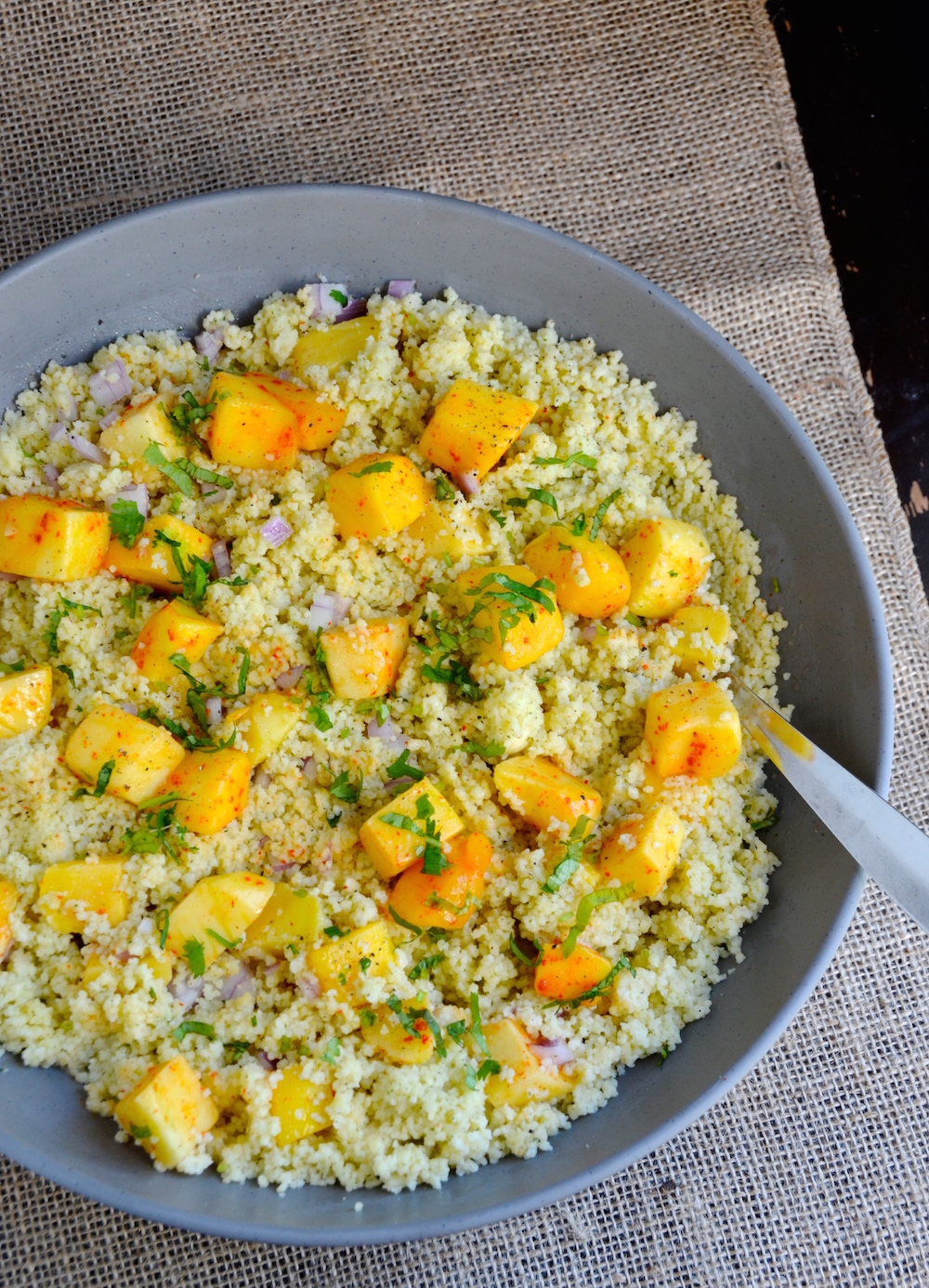coconut mango couscous salad ideas for a tropical fall