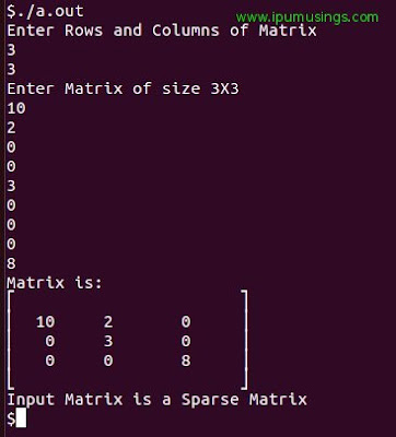 BCA Semester 2 : Data Structure Using C - Check Sparse Matrix