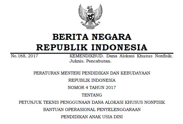 Juknis BOP PAUD Permendikbud Nomor 4 Tahun 2017