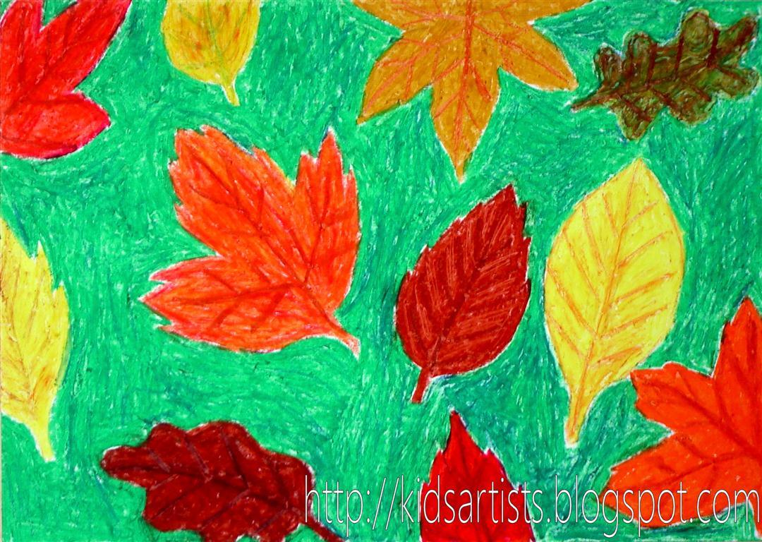 Kids Artists: Paper batik autumn leaves