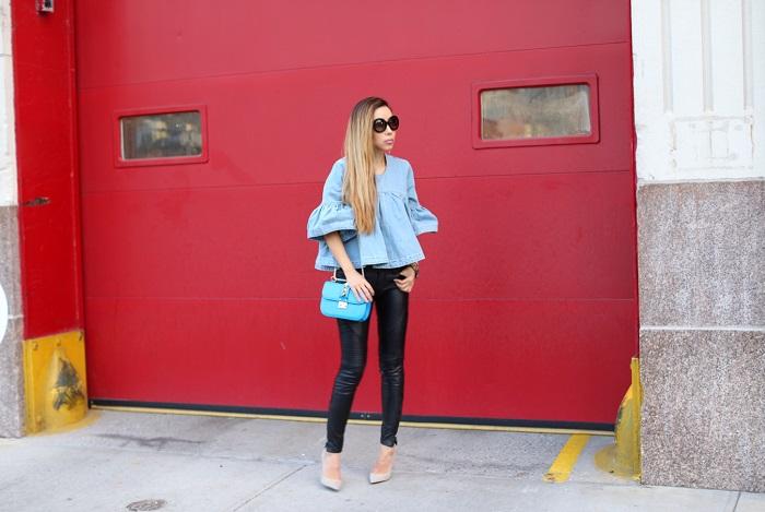 ASOS WHITE Extreme Denim Frill Top, blank denim moto pants, schutz heels, valentino lock bag, prada sunglasses, spring outfit