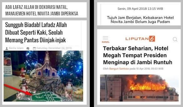 Hotel Novita Jambi yang Pernah Lecehkan Lafadz Allah Terbakar Runtuh
