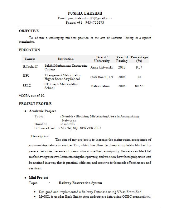 It Resume Formats Resume Formats Jobscan Resume Format It Resume