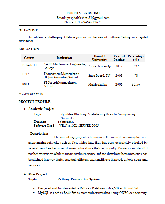 Download Resume Format For Campus Interview