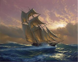 paisajes-marinos-con-barcos-suaves-rayos-del-sol vistas-marinas-pinturas