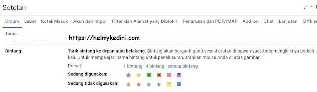 Cara mengganti warna bintang di gmail