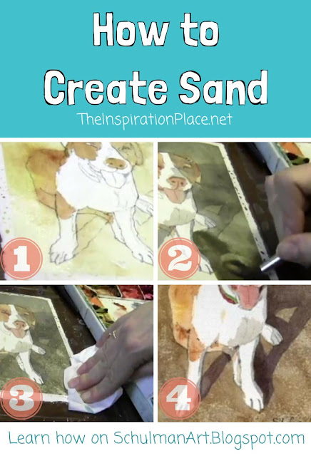 watercolor techniques | how to paint sand http://schulmanart.blogspot.com/2015/09/watercolor-wednesdays-how-to-paint-sand.html